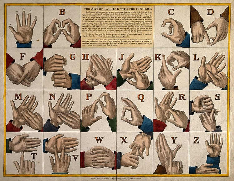 mage shows a chart of the alphabet in sign language.
