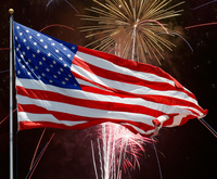 Flag and fireworks-American fourth of July