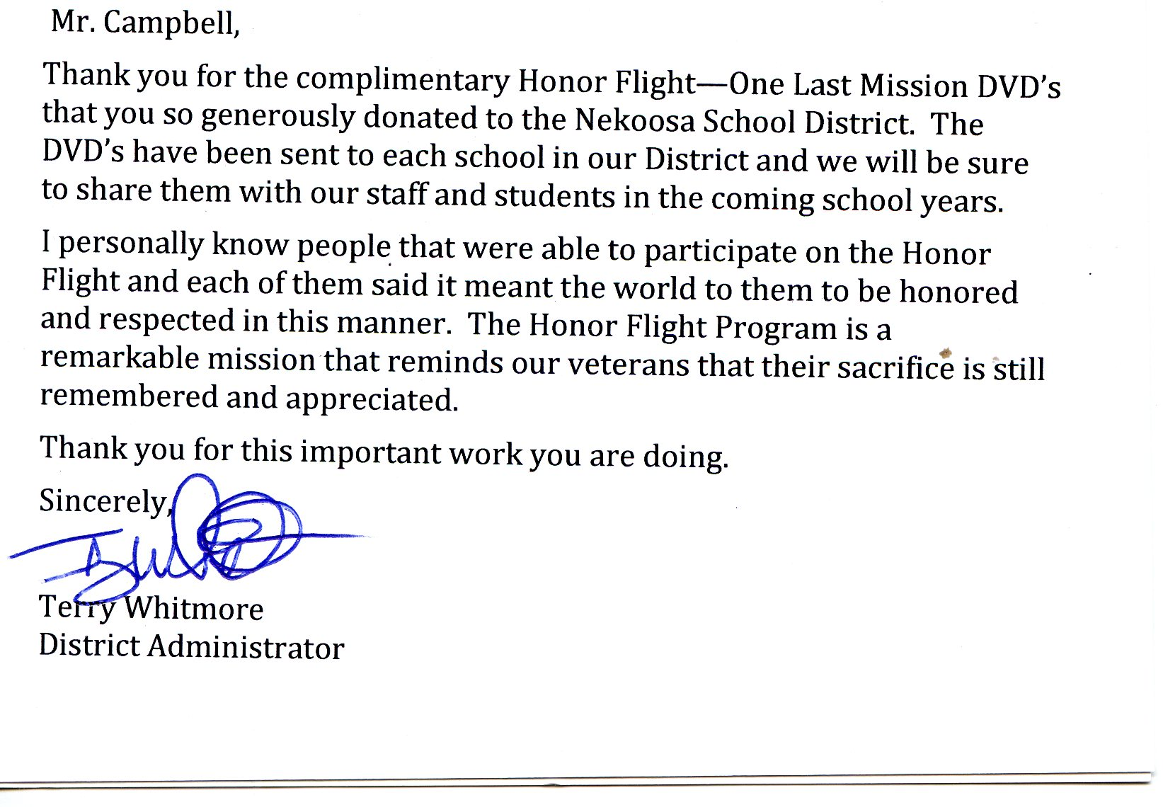 veterans thank you letters