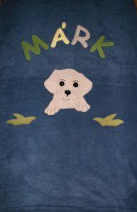 Labrador kölyök középkék alapon