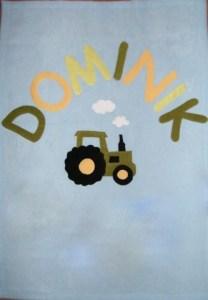 John Deer traktor világoskék alapon