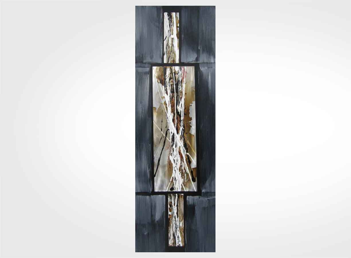 Tableau Moderne Vertical Tableau Contemporain Gris Souris 40 X 120 Cm New Art Gallery