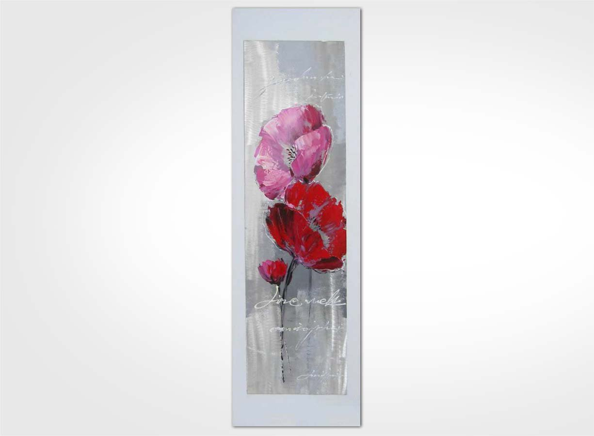 Tableau Moderne Vertical Tableau Contemporain Fleur Rose 120 X 60 New Art Gallery