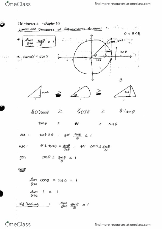 MATH 131 Lecture 12 Limits and Derivatives of Trigonometric