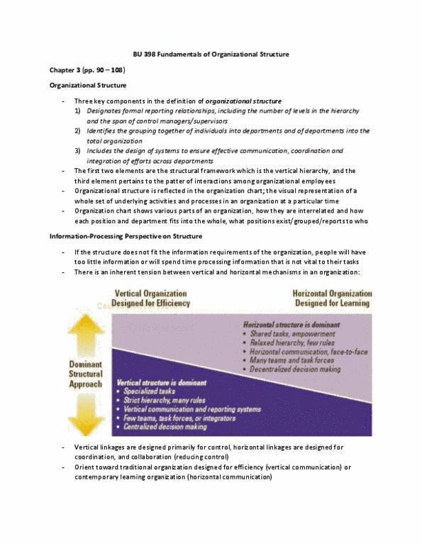 BU398 Chapter 3 BU 398 Organizational Structure II Chapter 3 pp 109-128