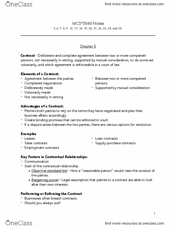MCS 3040 Study Guide - Summer 2017, Final - 5,6,7,8, Bargaining