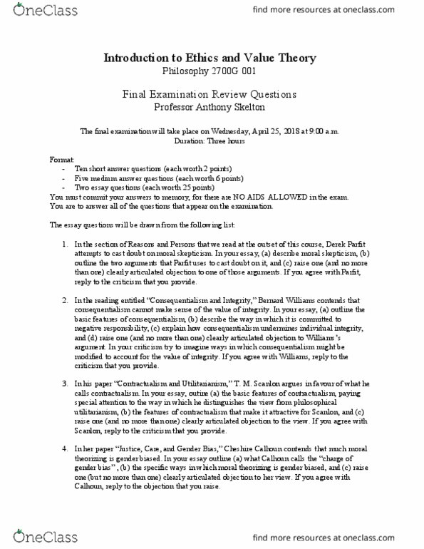 Philosophy 2700F/G Study Guide - Summer 2018, Final - Moral