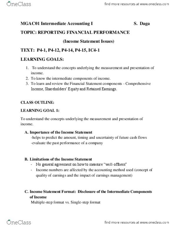 MGAC01H3 Lecture Notes - Winter 2014, - Financial Statement