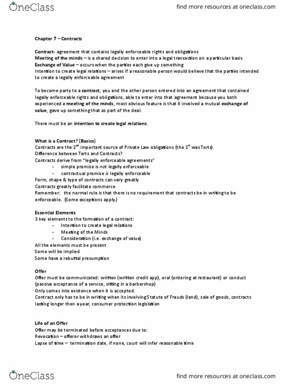 LAW 122 Lecture Notes - Fall 2015, Lecture 7 - Contract