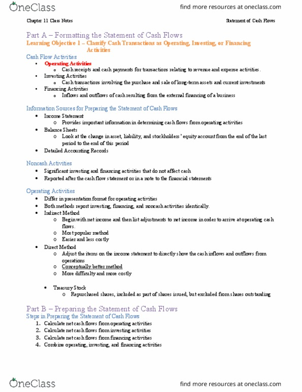MGMT 20000 Textbook Notes - Fall 2015, Chapter 11 - Cash Flow