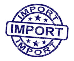 Import Stamp Showing Importing Goods And Commodities