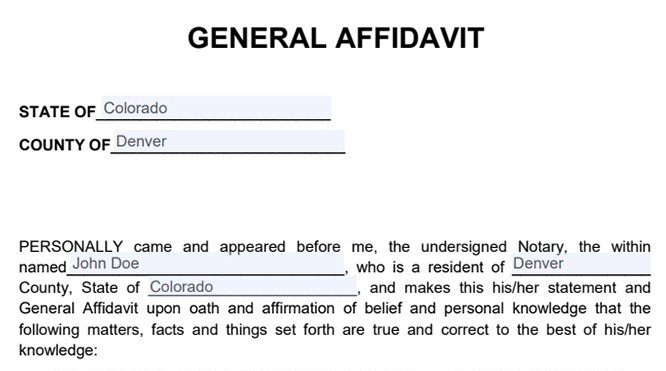 Sample of Affidavit Form Free General Affidavit Template - Free Affidavit Forms Online