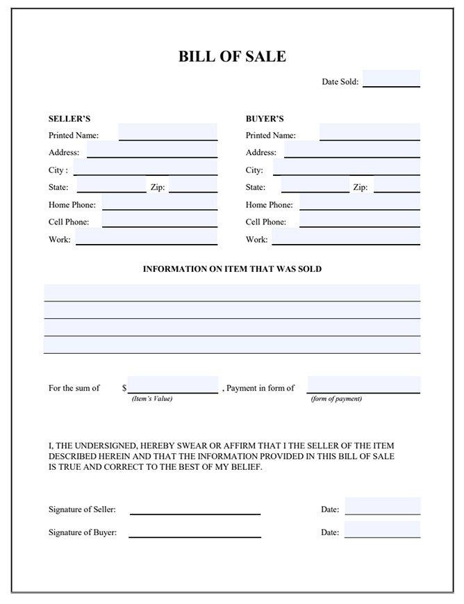 Bill of Sale Form Free Bill of Sale Template \u2013 Movavi