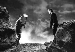 Frankenstein (Clive) confronts his creation (Karloff)