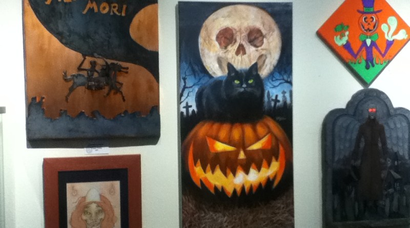 October Shadows 2014: black cat and other paintings
