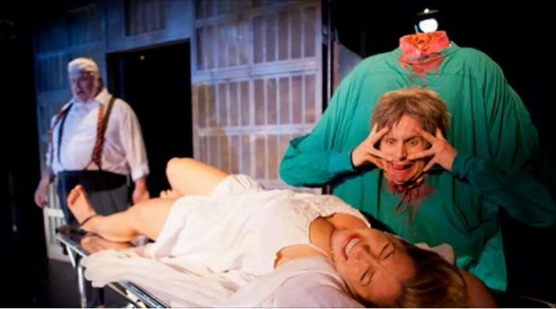 The Dead Dean Halsey (Ken Campbell) watches while Dr. Hill (Jesse Merlin) abuses Meg Halsey (Jessica Howell).