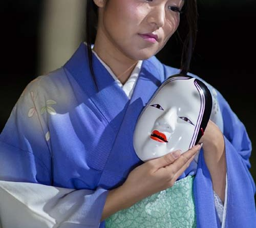 "Alpha Takahashi with mask in ""The Grove of Rashomon."" Photo by Daniel Kitayama"