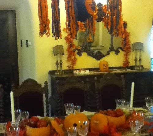Halloween decor inside the Temple House