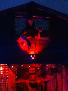 Skeleton atop barn (photo by Steve Biodrowski)