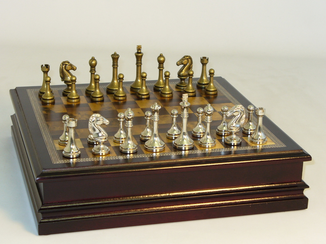 Steel Chess Pieces Metal And Brass Chess Set 95985 Newcentco Board Games