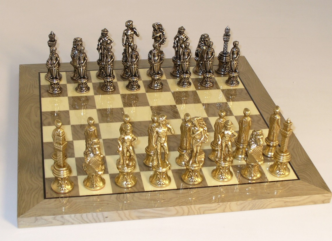 Steel Chess Pieces Metal And Brass Chess Set 99m Gy Newcentco Board Games