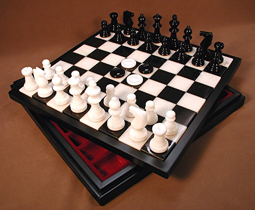 Chest Game Set Alabaster Chess And Checker Set Newcentco Board Games