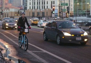 Riding Divvy on Milwaukee at Desplaines. Photo: Steven Vance