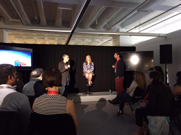(l to r) Sam Yagan,  Dr. Jennifer Jones, audience member/Photo: Zach Freeman