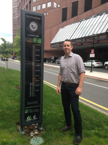 Pete Stidman with the Cambridge bike counter. Why can't we get one of these on Milwaukee? Photo: John Greenfield