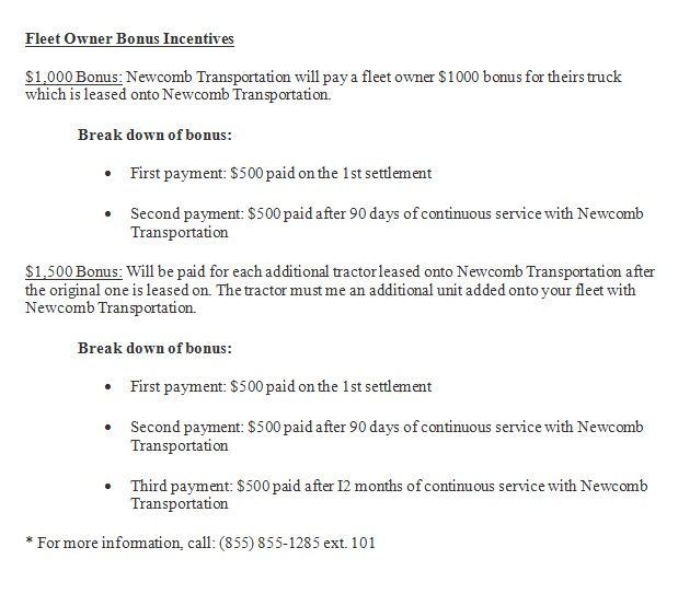 Newcomb Truck Lease Purchase Program OTR Owner Operator CDL Truck