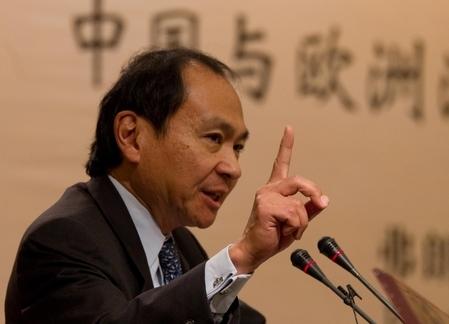 習近平接見日裔美籍的政經學者福山先生。 圖片來源:大紀元