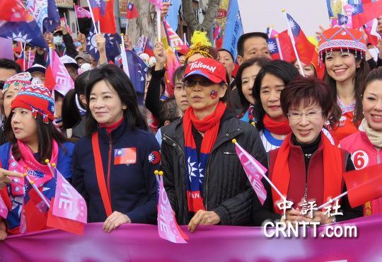 周美青、洪秀柱、高婉倩「三姝合體」參加國民黨遊行。 圖片來源:qoos
