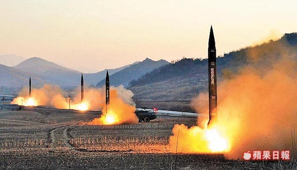 北韓不斷試射飛彈,影響東亞局勢。 圖片來源:蘋果日報