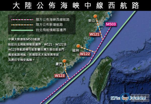 中共片面宣布啟用新航線逼近海峽中線。 圖片來源:東森新聞雲