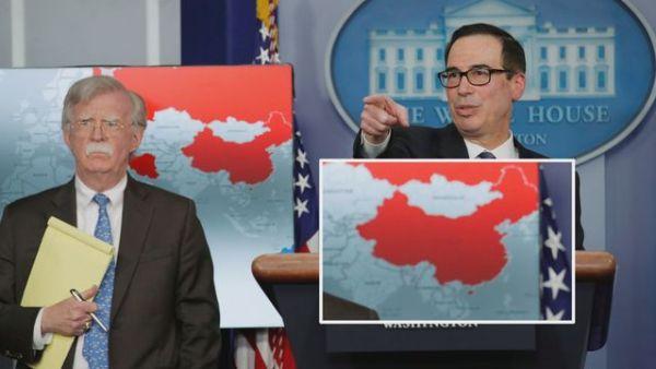 美國白宮的地圖將中國與台灣以不同顏色標註。 圖片來源:蘋果日報