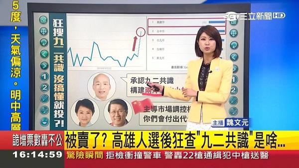 韓國瑜挺九二共識。 圖片來源:三立新聞