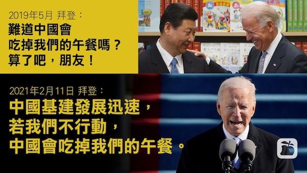 拜登警告「中國會吃掉美國午餐」。 圖片來源:蘋果日報
