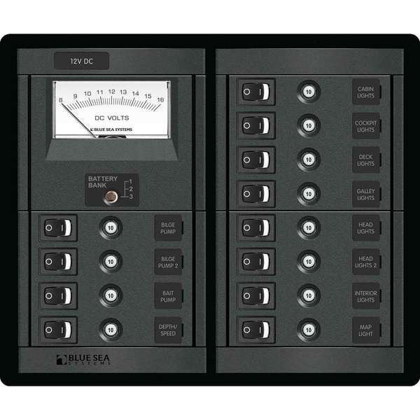BLUE SEA SYSTEMS 12-Position 12V DC CLB Panel with Voltmeter West