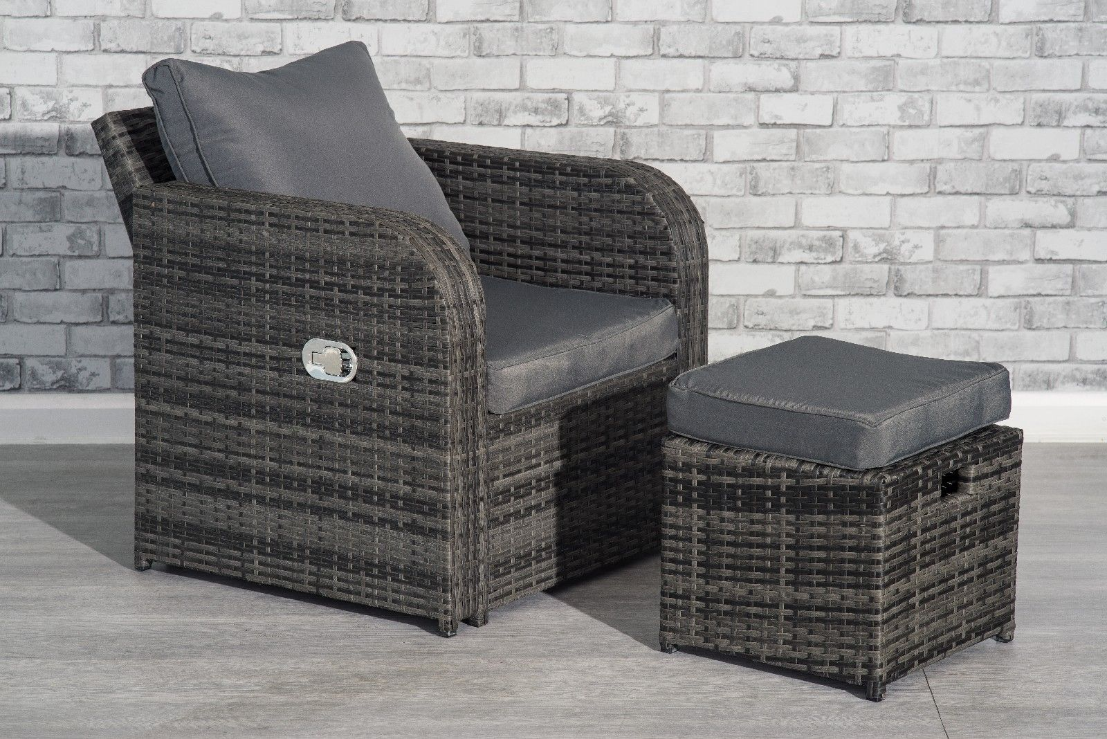 Grey Rattan Garden Furniture Set Sofa Reclining Chairs Conservatory Outdoor New End User