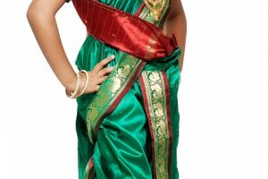 Green Art Silk Kids Saree