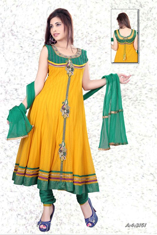 Henna Function Yellow Dresses Collection For Girls 2014-15 (4)