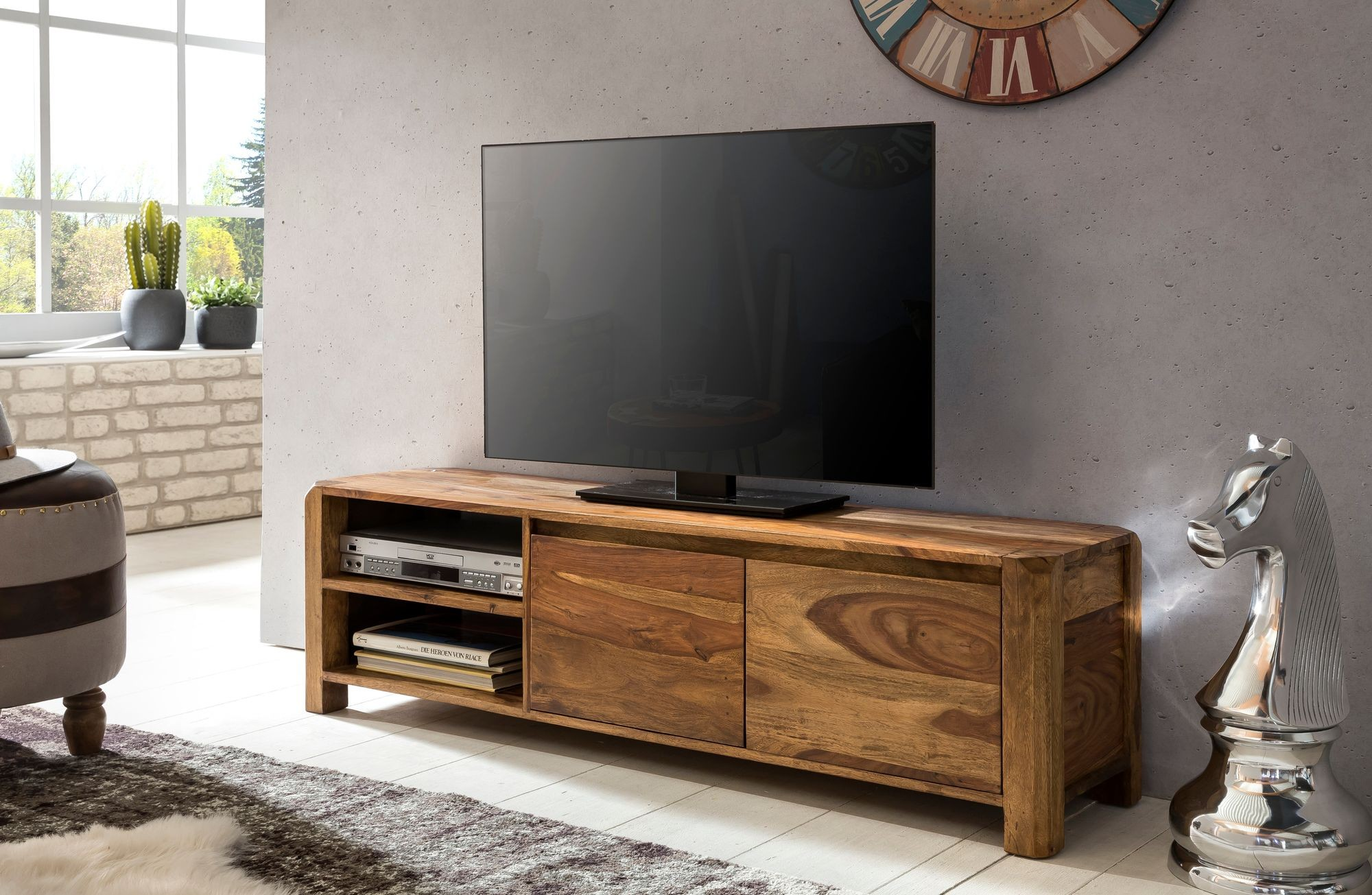 Tv Sideboard Raumteiler Milo Two Lowboard Massivholz Sheesham Kommode 140 Cm Tv