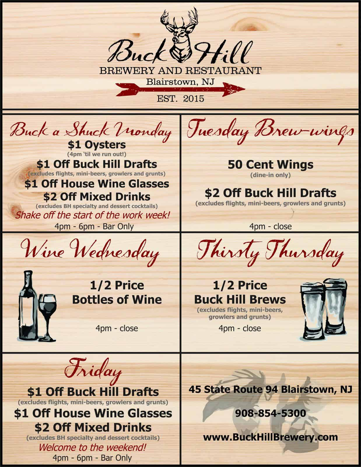 Beer Specials Weekly Specials Monday Thru Friday At Buck Hill New Jersey Craft