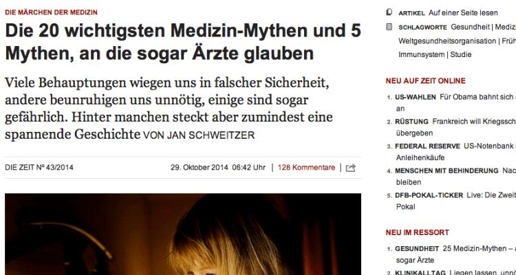 """""""Die Märchen der Medizin"""", auch erschienen in der ZEIT 43/2014 (Screenshot)"""