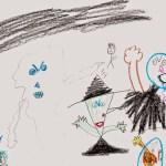 Ein Fünfjähriger malt Songs der Achtziger