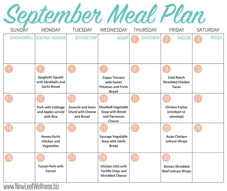 12 Healthy Crockpot Freezer Meals to Make in September u2013 New Leaf - meal calendar