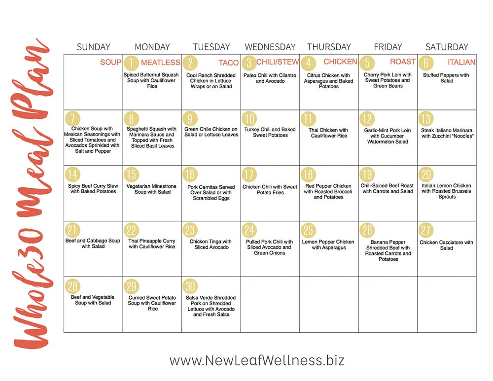 The Ultimate Whole30 Slow Cooker Freezer Meal Plan \u2013 New Leaf Wellness