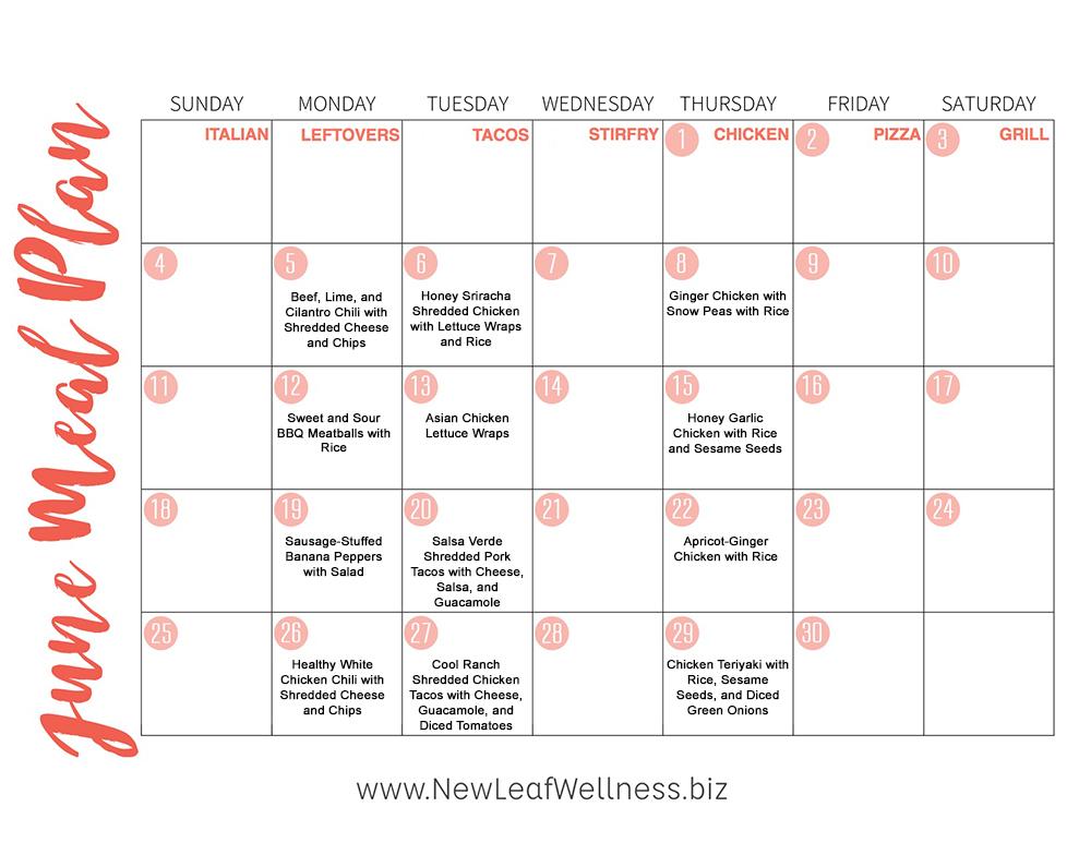 12 Healthy Crockpot Freezer Meals to Make in June u2013 New Leaf Wellness - meal calendar