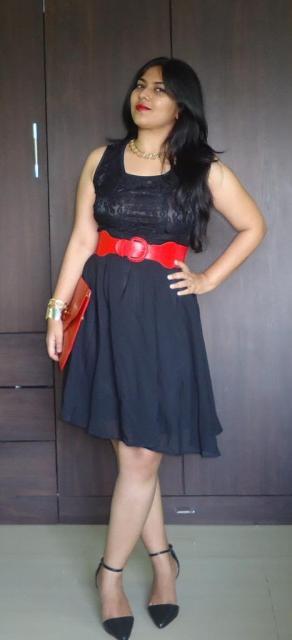 OOTD: Black Lace Dress, Ankle Strap Pumps