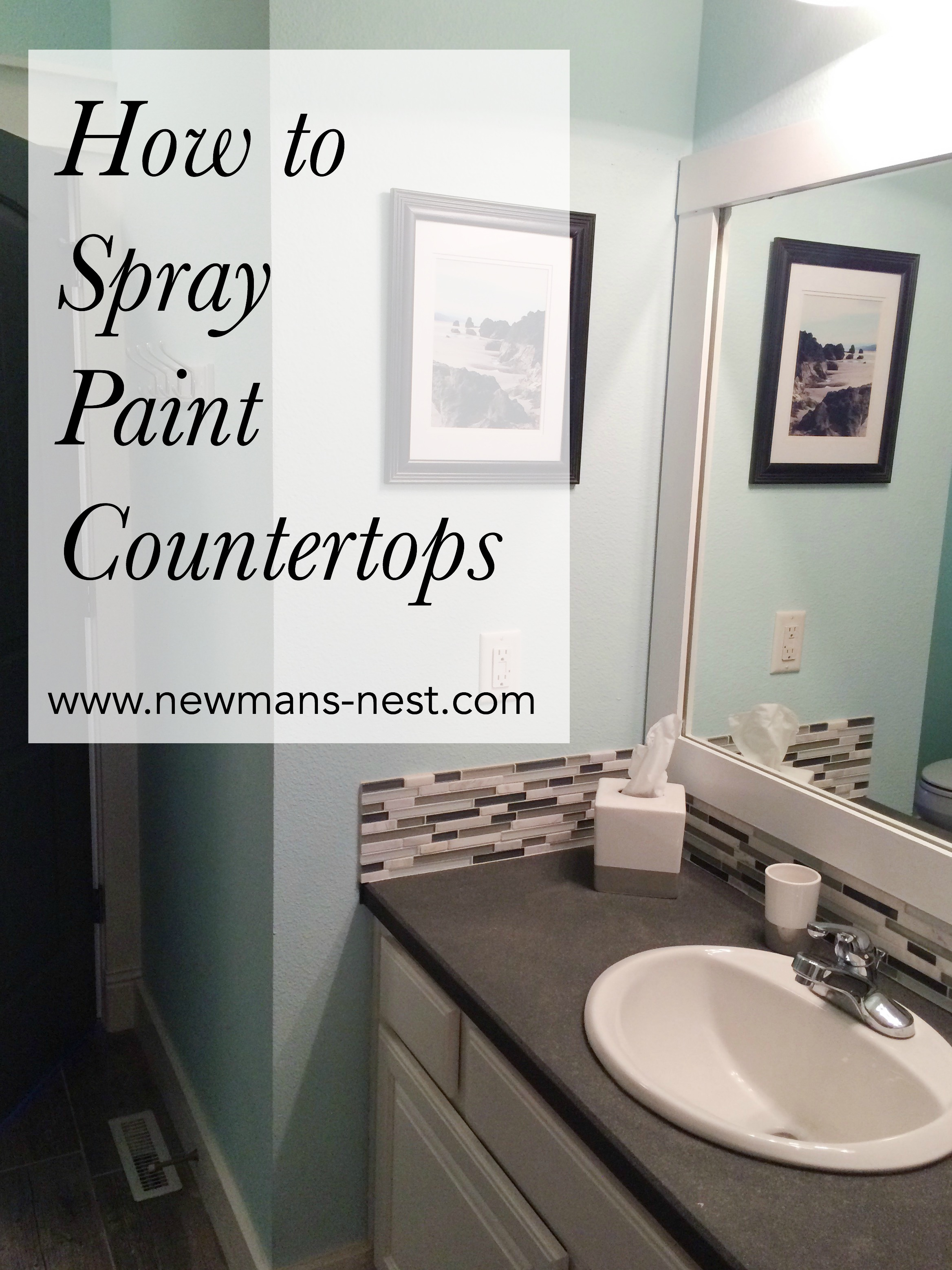 Spray paint bathroom countertop